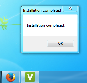 Installation completed message
