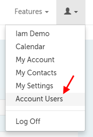 Account Users is sixth in the drop-down