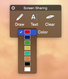 Drawing tools color palette on a Mac