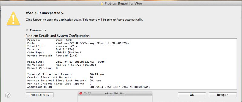 "Screencap showing ""VSee quit unexpectedly"""