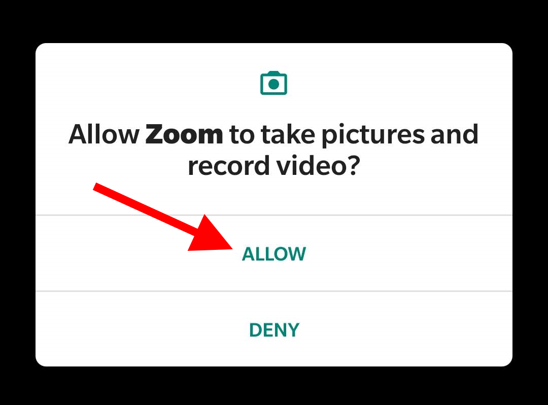 "Arrow pointing toward ""Allow"" for the question ""Allow Zoom to take pictures and record video?"""