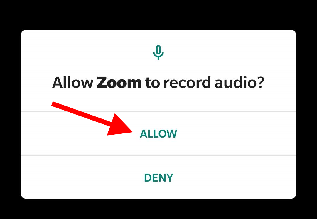 "Arrow pointing at ""Allow"" for question ""Allow Zoom to record audio?"""