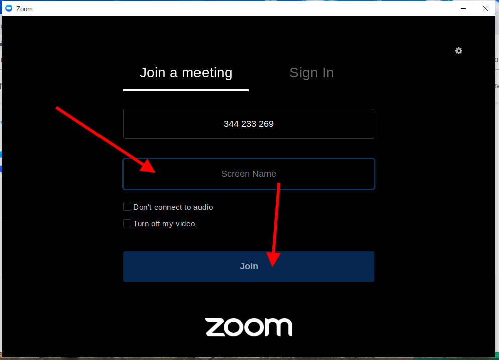 Zoom Join Screen