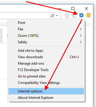 Settings icon, and Internet Options option